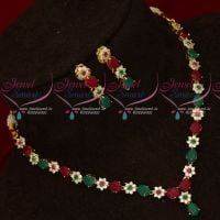 Ruby Emerald Simple Design Low Price American Diamond Necklace Set Shop Online