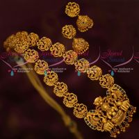 Temple Traditional Gold Design Jewellery Haram Sapphire Blue Stones Online