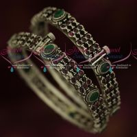 Broad Screw Open Oxidised Silver Plated Ruby Emerald Bangles Online