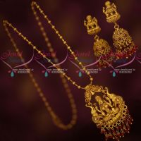 Ruby Jewellery Temple Thin Chain Pendant Matching Jhumka Earrings Crystal Drops