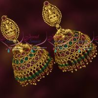 Antique Gold Plated Jewellery Temple Jhumka Double Layer Crystal Drops Shop Online