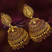 Antique Gold Plated Jewellery Temple Jhumka Ruby Stones Crystal Drops