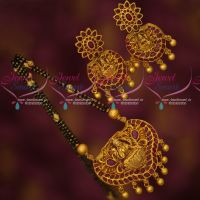 Ruby Temple Jewellery Laxmi God Design Short Mangalsutra Online