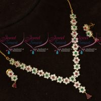 Multi Colour Delicate Floral Traditional Design Short Necklace Set Gold Plated Online
