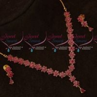 Ruby Stones Delicate Floral Traditional Design Short Necklace Set Gold Plated Online