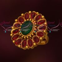 Ruby Emerald Stones Low Price Adjustable Finger Rings Matte Reddish Gold Plated
