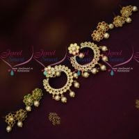AD 5 Colour Stone Changeable Chand Bali Ear Studs Light Weight Earrings Shop Onlineg