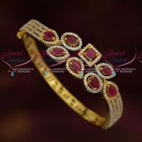 Ruby Stones Fashion Jewellery Kada Clip Open Bracelets Two Tone Gold Silver Plated
