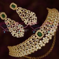 Grand Bridal Choker Necklace AD Emerald Green High Quality Sparkling Jewellery Set