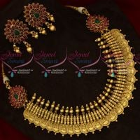 Antique Gold Plated Real Kemp Mugappu Coin Necklace Intricately Finished Jewellery Set Online