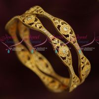 Latest Trendy Imitation Jewellery South Indian Gold Covering AD Bangles