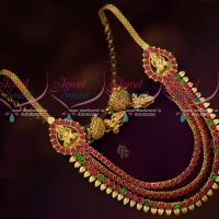 Gold Covering South Indian Kemp Red Green Stones Trendy Layer Necklace Medium Size
