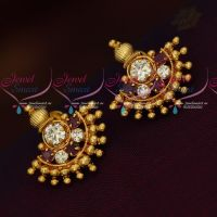 Gold Covering South Indian Screwlock Daily Wear Earrings AD Stones Handmade Designs
