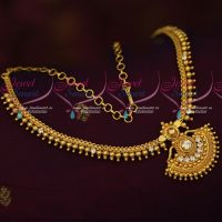Gold Covering Attiga Jewellery Daily Wear Beads Design Necklace Imitation Online