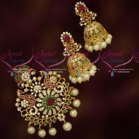 Latest Design American Diamond Stones Jewellery Pendant Jhumka Set Online