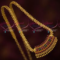 Latest Gold Covering Imtiation Jewellery Ghajiri Chain Pendant Ruby Emerald Stones