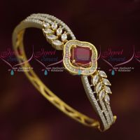 American Diamond Fashion Jewellery Ruby White Kada Bracelets Clip Open