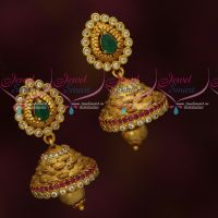 Antique Gold Plated Jhumka Earrings Semi Precious AD Stones Low Price