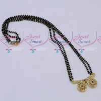 Black Beads Mala 2 Strand AD Mangalsutra Traditional Jewellery Designs Online