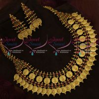 Traditional Gold Design Temple Broad Kemp Coin Necklace Latest Collections