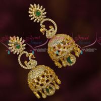 Stylish Party Wear American Diamond Gold Plated Jewellery Jhumka Earrings Big Size