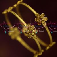 Antique Casual Wear Elegant Stylish Floral Design Fancy Bangles Ruby Stones Jewelry Online