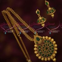 Kemp Green Stones Antique Gold Plated Ghairi Mala Pendant Jhumka Set