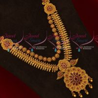 Ruby Stones Gold Design Intricately Finished Medium Haram Latest Multi Layer Jewellery Collections