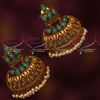 Aqua Blue Stones Stylish Half Jhumka Pearl Drops Broad Fancy Design Collections