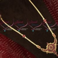Gold Plated Long Necklace South Indian Daily Wear Ruby Stones Haram Online