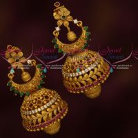 Gold Design Jhumka Earrings Matte Antique AD Stones Jewellery Latest Online