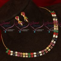 South Traditional Gold Plated Navratna Semi Precious Stones Necklace Set Online