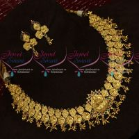 One Gram Gold Temple Jewellery Ruby Emerald AD Stones Broad Necklace Set