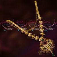 South Indian Ruby Emerald Casual Wear Trendy Necklace Gold Plated Imitation Jewellery
