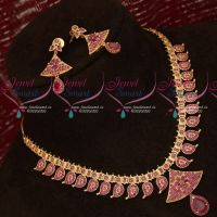 South Indian Traditional Design Mango Mala American Diamond Ruby Stones Jewellery
