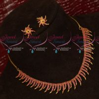 Kerala Style Traditional Ruby Necklace Gold Plated Jewellery Set Online