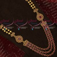Oval Ruby Stones Multi Strand Long Necklace Jhumka Earrings Latest Imitation Jewellery