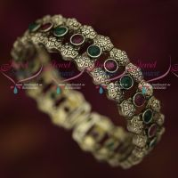 Silver Antique Plated Jewellery Fancy Watch Bracelets Red Green Stones Online