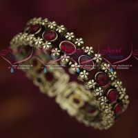 Blackish Silver Plated Watch Type Kada Bracelet Ruby Stones