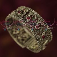 Stylish Peacock Blackish Silver Plated Watch Type Thick Kada Bracelet Ruby Stones
