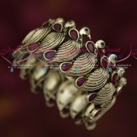 Broad Peacock Silver Oxidised Flexible Open Watch Type Free Size Kada Bracelet Online