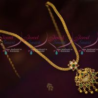 Peacock Design Attiga Gold Covering Daily Wear Chain Pendant Latest AD Jewellery
