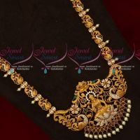 South Indian Party Wear Jewellery Peacock Temple Haram Latest Designs