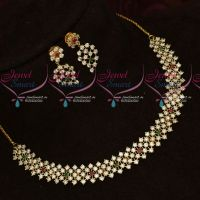 White AD Stones Necklace Party Wear Imitation Jewellery Latest Design