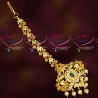 AD Stones Gold Plated Maang Tikka Nethichutti Party Wear Low Cost Jewellery