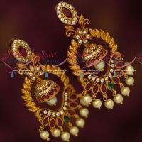 Big Size Chand Bali Jhumka Earrings Antique Matte Gold AD Stones Jewellery
