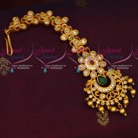 Floral Design AD Stones Matte Gold Finish Maang Tikka New Jewellery Collections