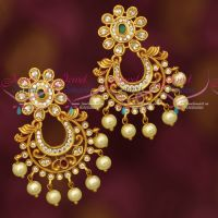 AD Kemp Stones Matte Gold Plated AD Chand Bali Earrings Online