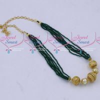 Multi Strand 2 MM High Quality Green Crystals Gold Plated Floral Balls Mala Hand Beaded Jewellery