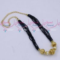 Multi Strand 2 MM High Quality Sapphire Blue Crystals Gold Plated Floral Balls Mala Hand Beaded Jewellery